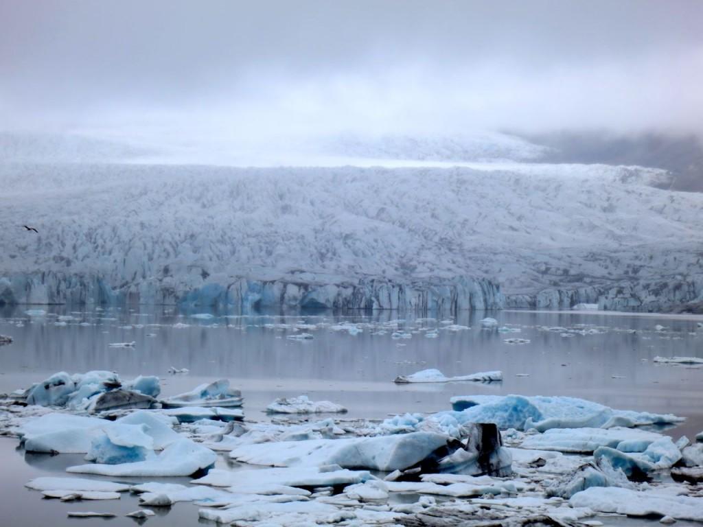 Jökulsárlón mit Breiðamerkurjökull im Hintergrund